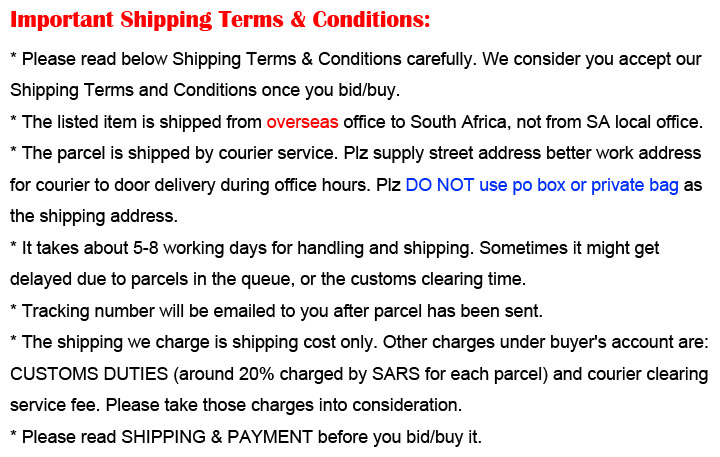Important Shipping T&amp;C
